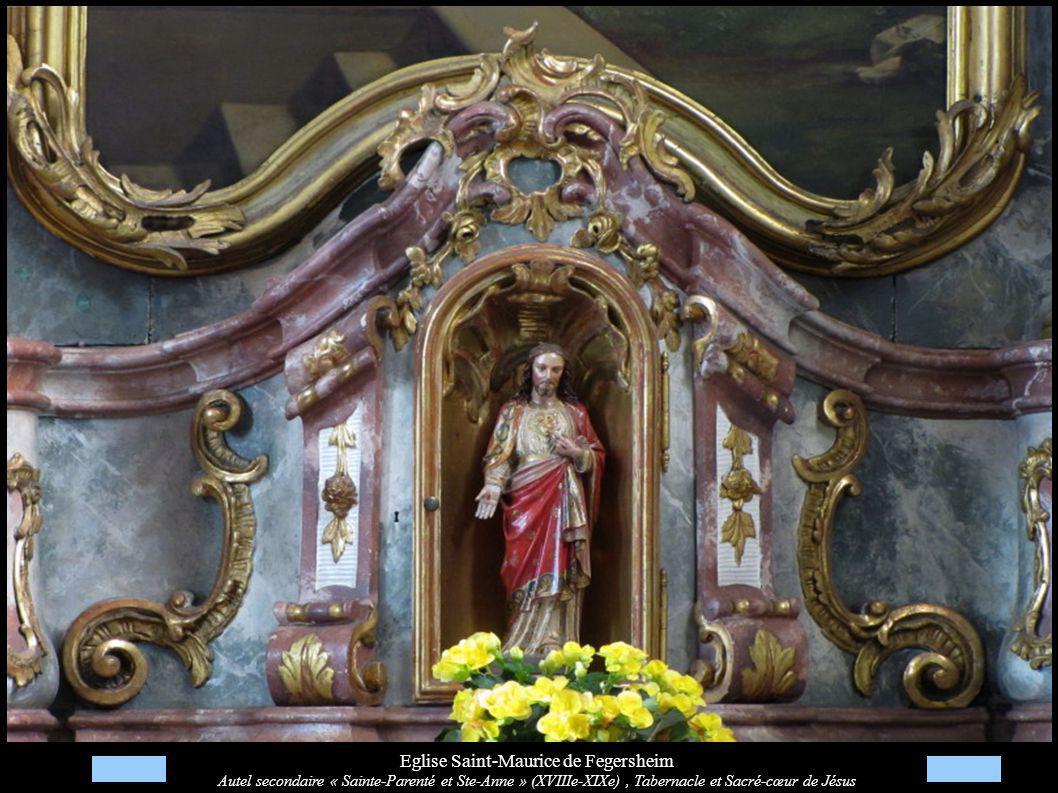 Eglise Saint-Maurice de Fegersheim Autel secondaire « Sainte-Parenté et Ste-Anne » (XVIIIe-XIXe), Tabernacle et Sacré-cœur de Jésus