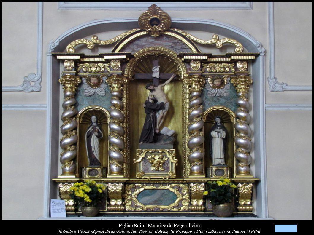 Eglise Saint-Maurice de Fegersheim Retable « Christ déposé de la croix », Ste-Thérèse d Avila, St-François et Ste-Catherine de Sienne (XVIIe)