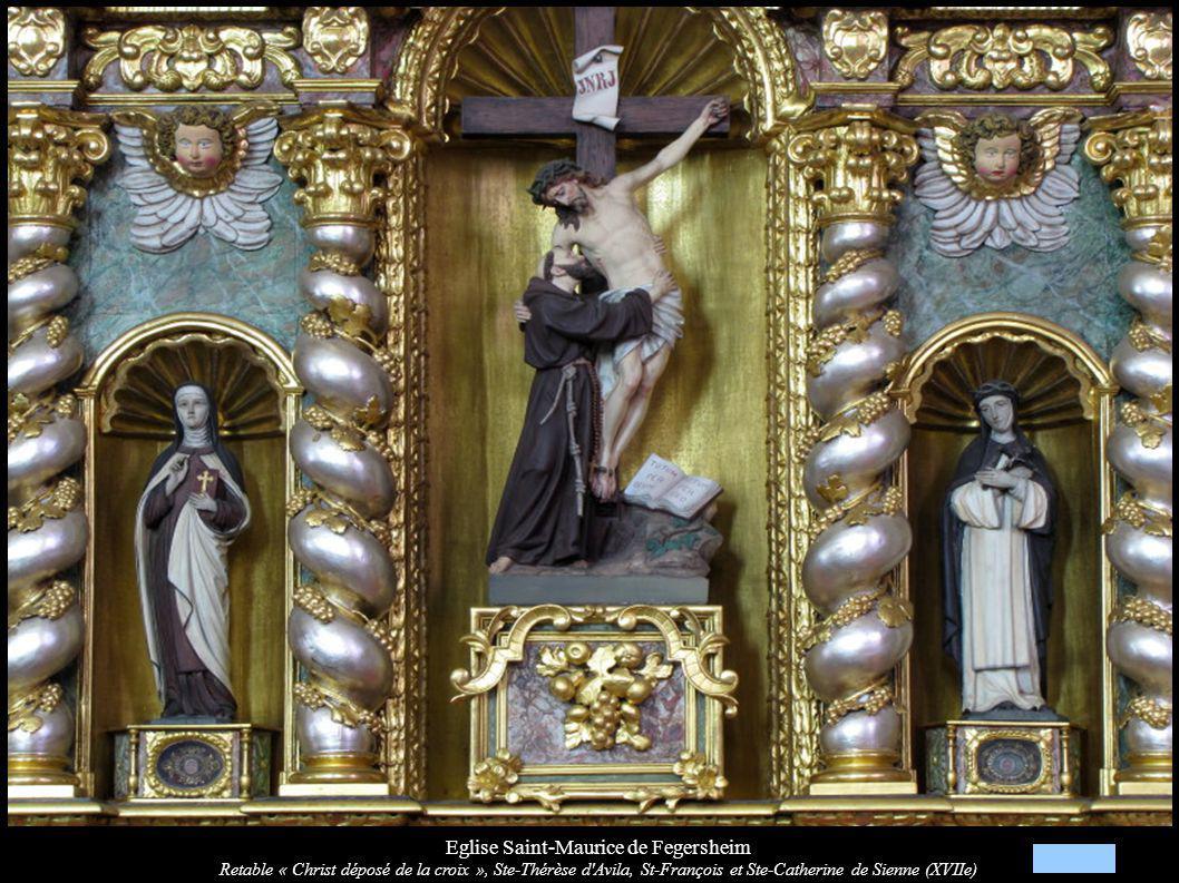 Eglise Saint-Maurice de Fegersheim Retable « Christ déposé de la croix », Ste-Thérèse d'Avila, St-François et Ste-Catherine de Sienne (XVIIe)