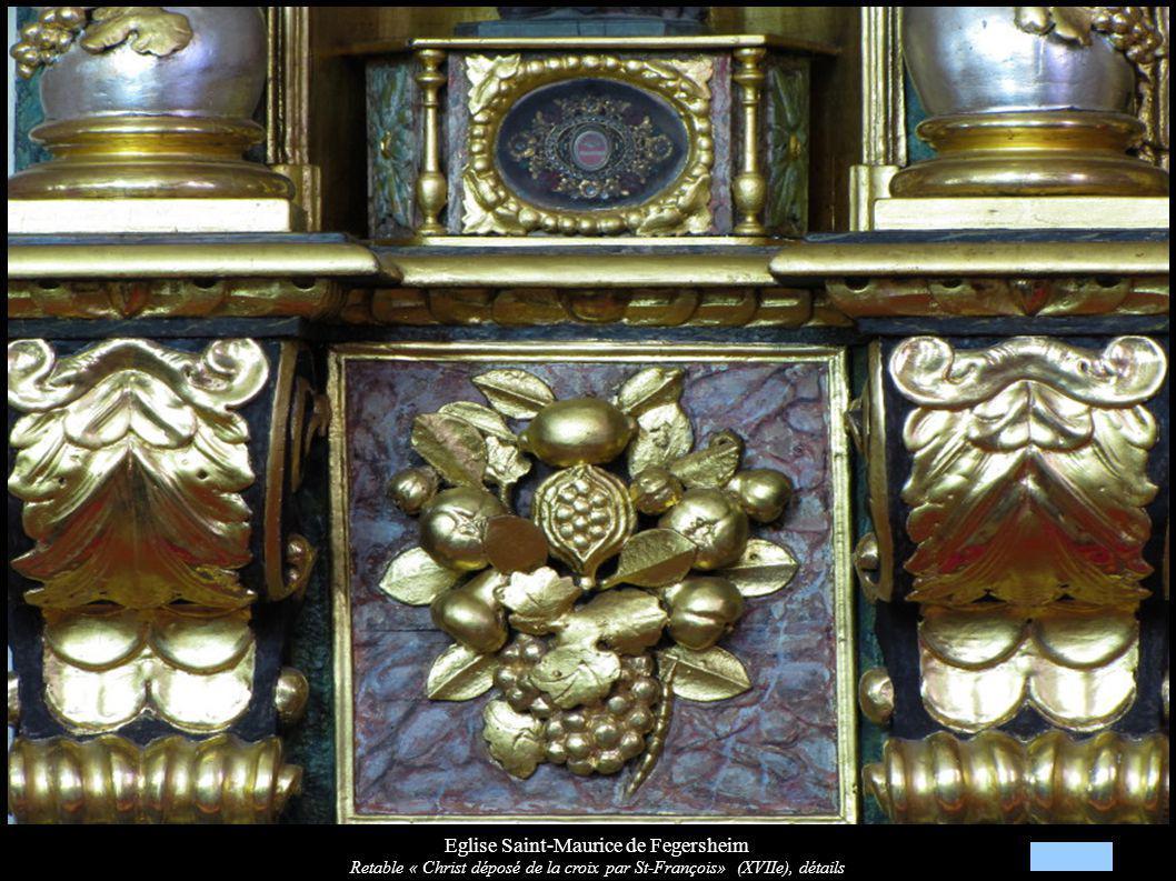 Eglise Saint-Maurice de Fegersheim Retable « Christ déposé de la croix par St-François» (XVIIe), détails