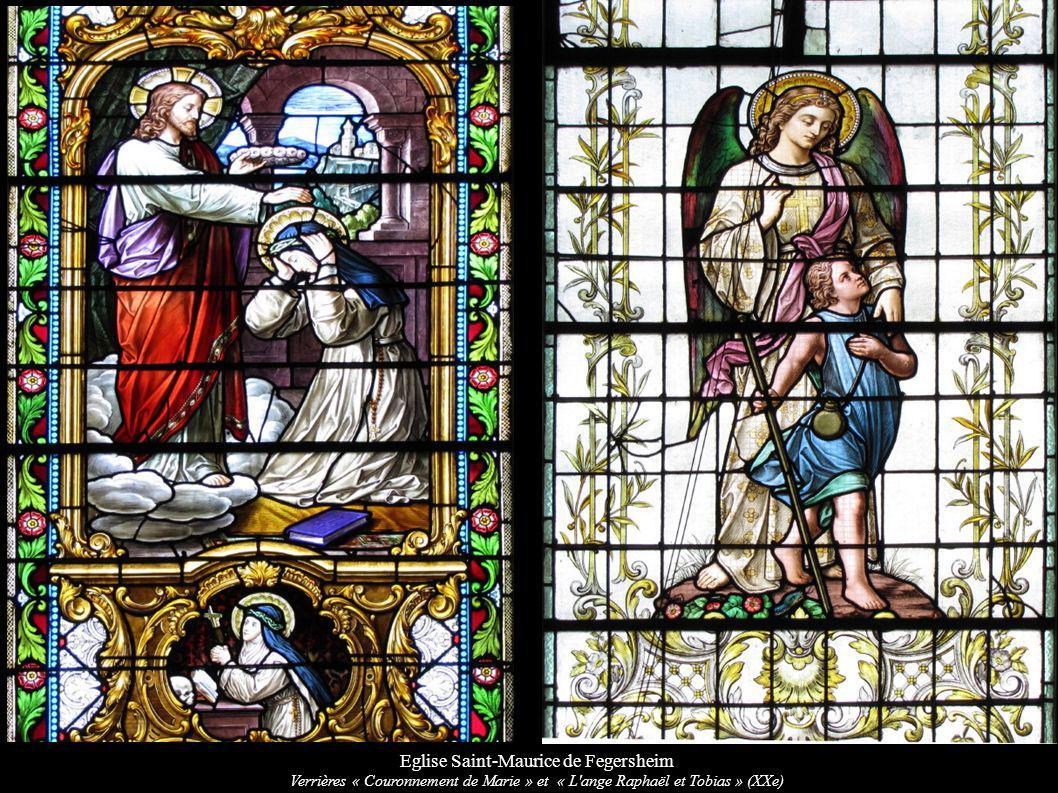 Eglise Saint-Maurice de Fegersheim Verrières « Couronnement de Marie » et « L'ange Raphaël et Tobias » (XXe)