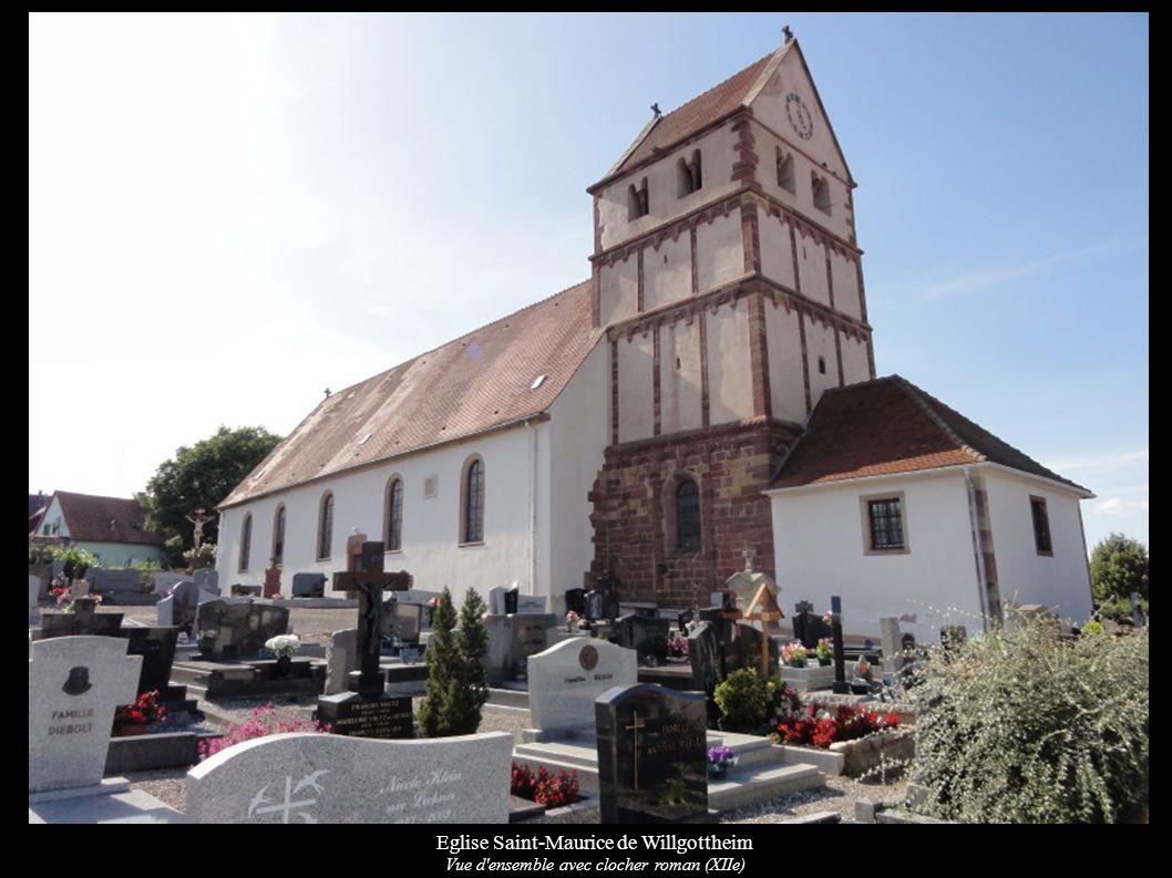 Eglise Saint-Maurice de Willgottheim Clocher roman du (XIIe) WIKIMEDIA: MERIMEE: