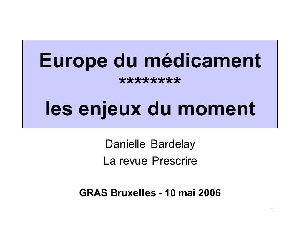 1 Europe du médicament ******** les enjeux du moment Danielle Bardelay La revue Prescrire GRAS Bruxelles - 10 mai 2006