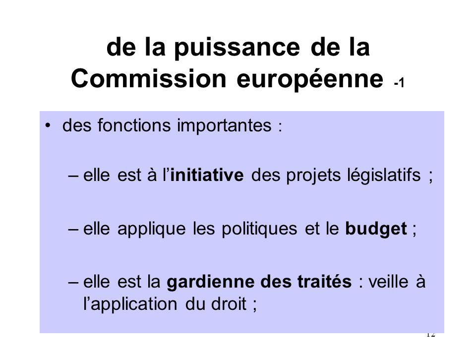 12 de la puissance de la Commission européenne -1 des fonctions importantes : –elle est à l'initiative des projets législatifs ; –elle applique les politiques et le budget ; –elle est la gardienne des traités : veille à l'application du droit ;