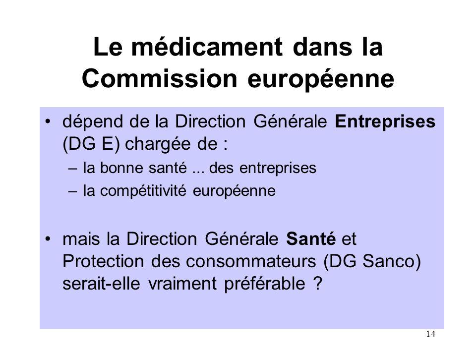 14 Le médicament dans la Commission européenne dépend de la Direction Générale Entreprises (DG E) chargée de : –la bonne santé...
