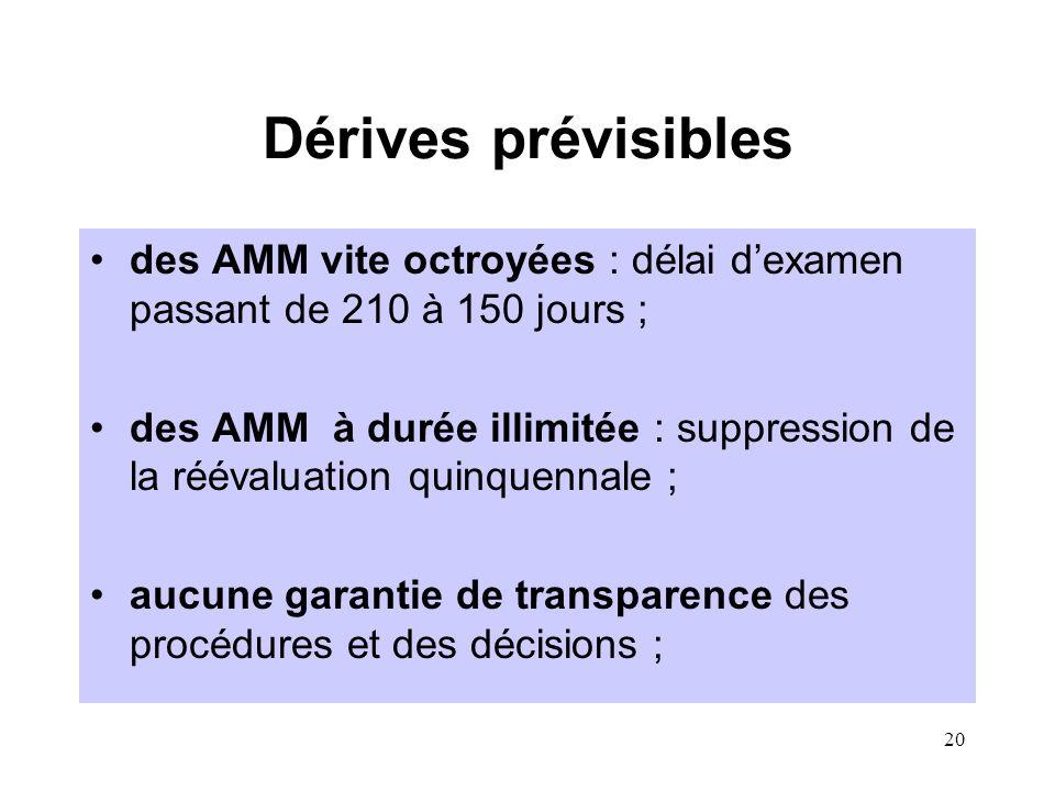 20 Dérives prévisibles des AMM vite octroyées : délai d'examen passant de 210 à 150 jours ; des AMM à durée illimitée : suppression de la réévaluation quinquennale ; aucune garantie de transparence des procédures et des décisions ;