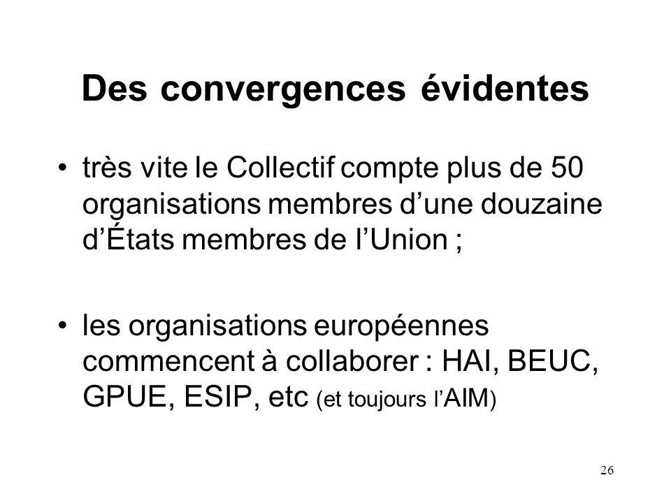 26 Des convergences évidentes très vite le Collectif compte plus de 50 organisations membres d'une douzaine d'États membres de l'Union ; les organisations européennes commencent à collaborer : HAI, BEUC, GPUE, ESIP, etc (et toujours l' AIM )
