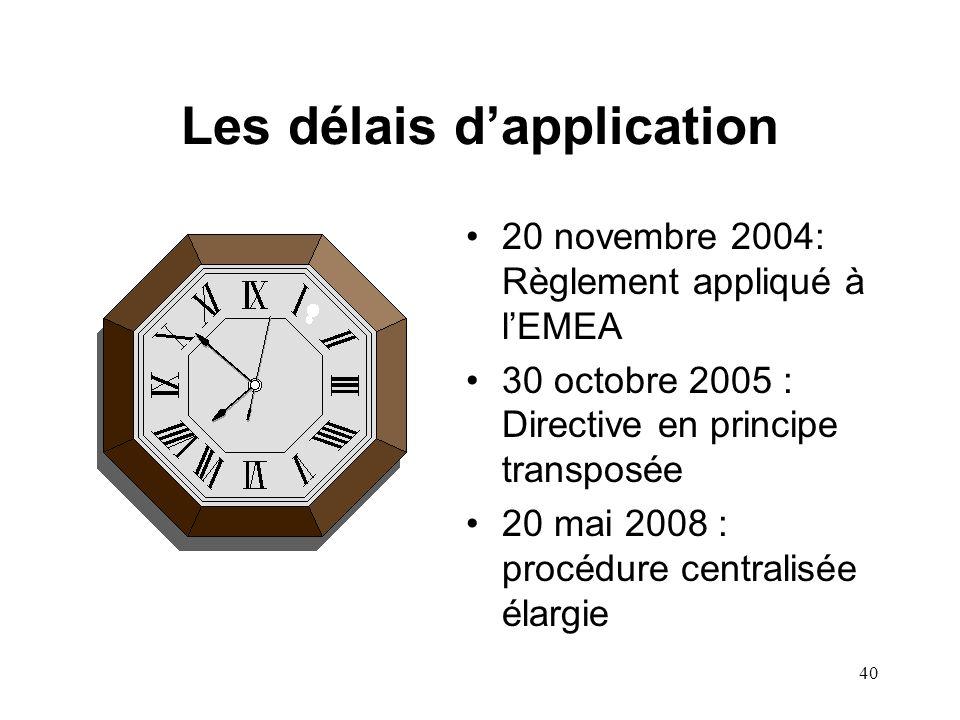 40 Les délais d'application 20 novembre 2004: Règlement appliqué à l'EMEA 30 octobre 2005 : Directive en principe transposée 20 mai 2008 : procédure centralisée élargie