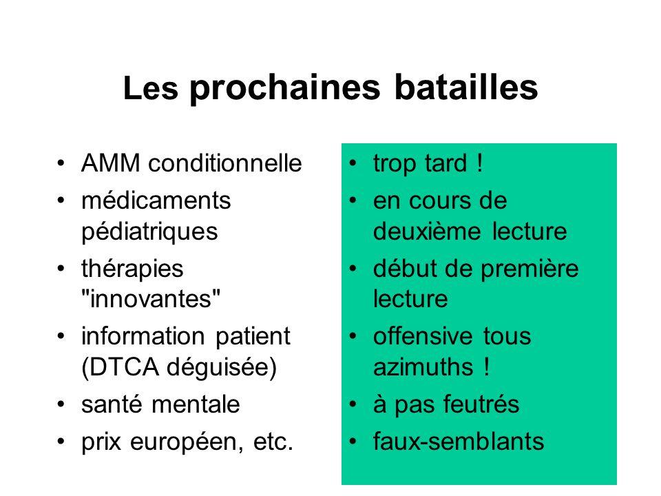 43 Les prochaines batailles AMM conditionnelle médicaments pédiatriques thérapies innovantes information patient (DTCA déguisée) santé mentale prix européen, etc.
