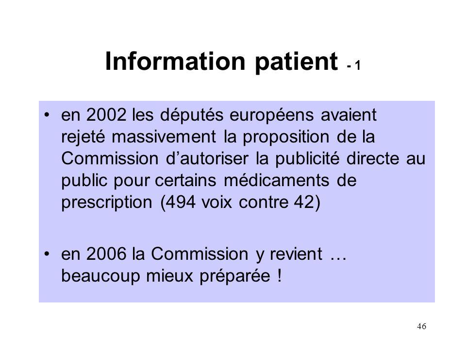46 Information patient - 1 en 2002 les députés européens avaient rejeté massivement la proposition de la Commission d'autoriser la publicité directe au public pour certains médicaments de prescription (494 voix contre 42) en 2006 la Commission y revient … beaucoup mieux préparée !