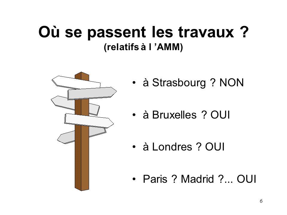 6 Où se passent les travaux . (relatifs à l 'AMM) à Strasbourg .