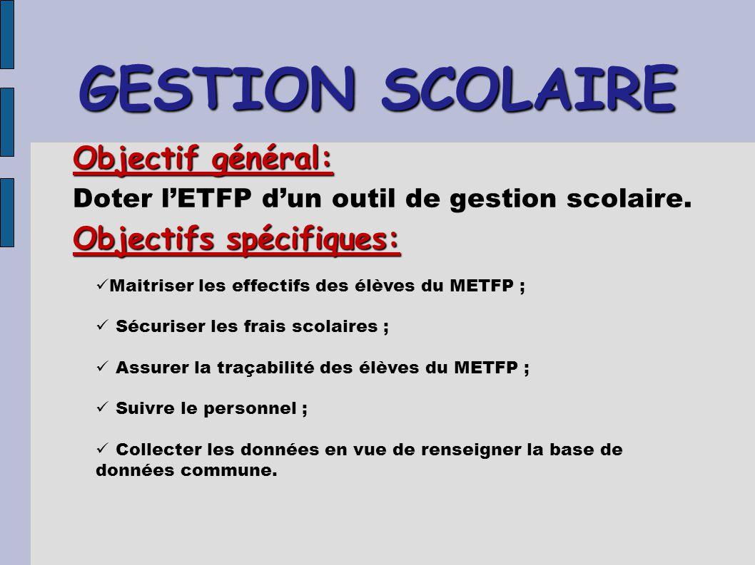 GESTION SCOLAIRE Objectif général: Doter l'ETFP d'un outil de gestion scolaire. Objectifs spécifiques: Maitriser les effectifs des élèves du METFP ; S