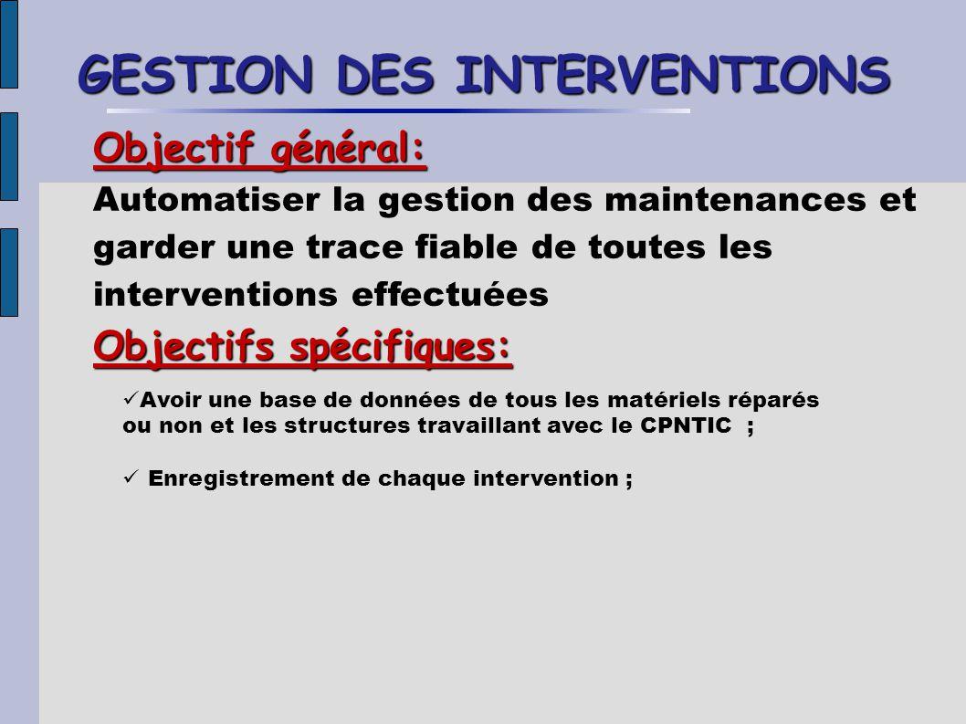 GESTION DES INTERVENTIONS Objectif général: Automatiser la gestion des maintenances et garder une trace fiable de toutes les interventions effectuées