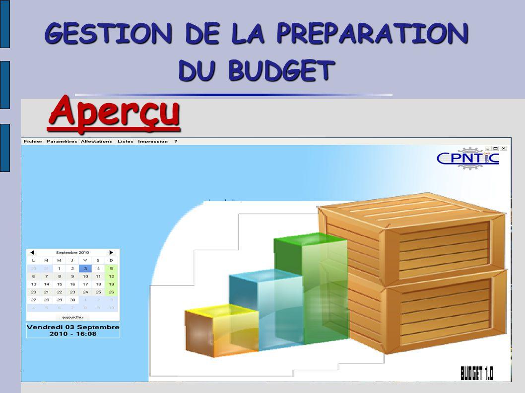 GESTION DE LA PREPARATION DU BUDGET Aperçu