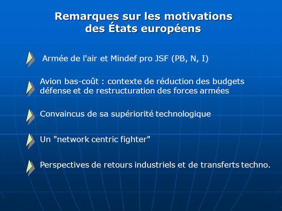 Remarques sur les motivations des États européens Armée de l'air et Mindef pro JSF (PB, N, I) Avion bas-coût : contexte de réduction des budgets défen
