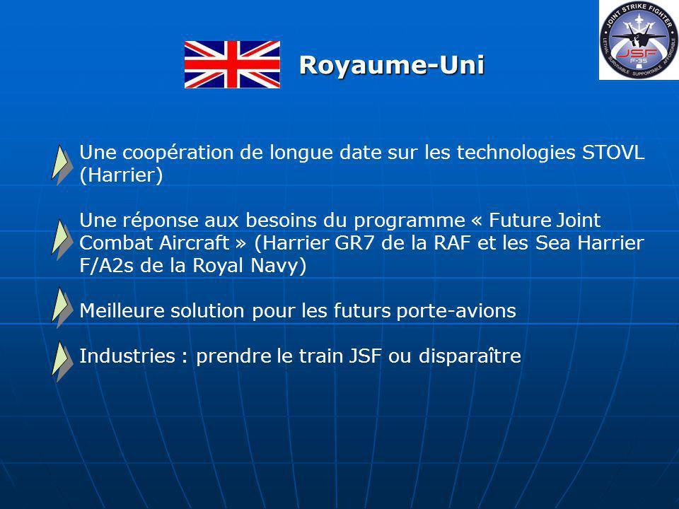 Une coopération de longue date sur les technologies STOVL (Harrier) Une réponse aux besoins du programme « Future Joint Combat Aircraft » (Harrier GR7