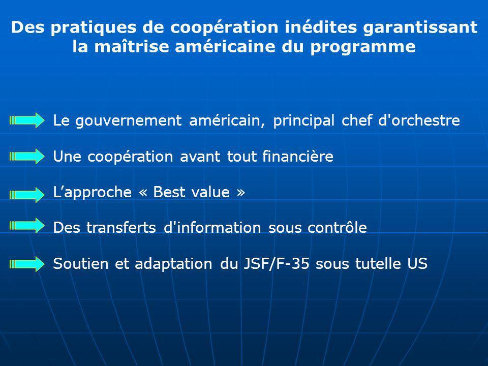 Des pratiques de coopération inédites garantissant la maîtrise américaine du programme Le gouvernement américain, principal chef d'orchestre Une coopé