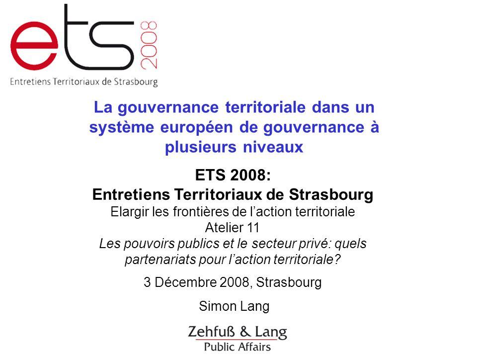 Lang, La Gouvernance Régionale, Strasbourg 3/12/2008 Merci beaucoup de votre attention.