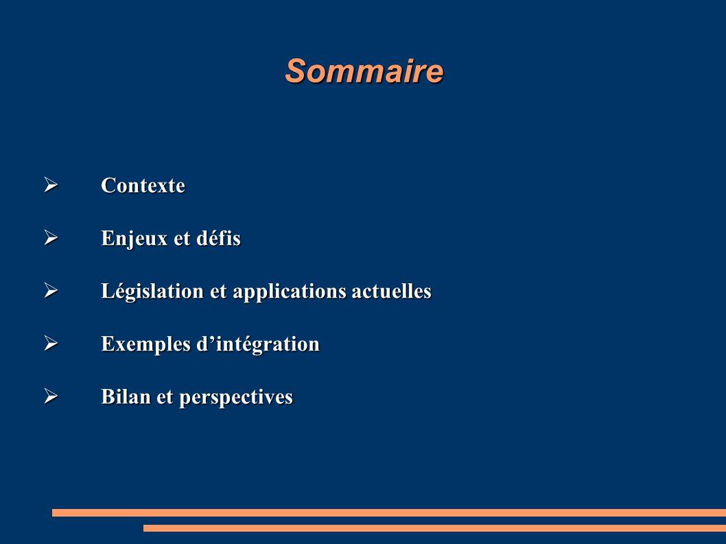 Sommaire  Contexte  Enjeux et défis  Législation et applications actuelles  Exemples d'intégration  Bilan et perspectives