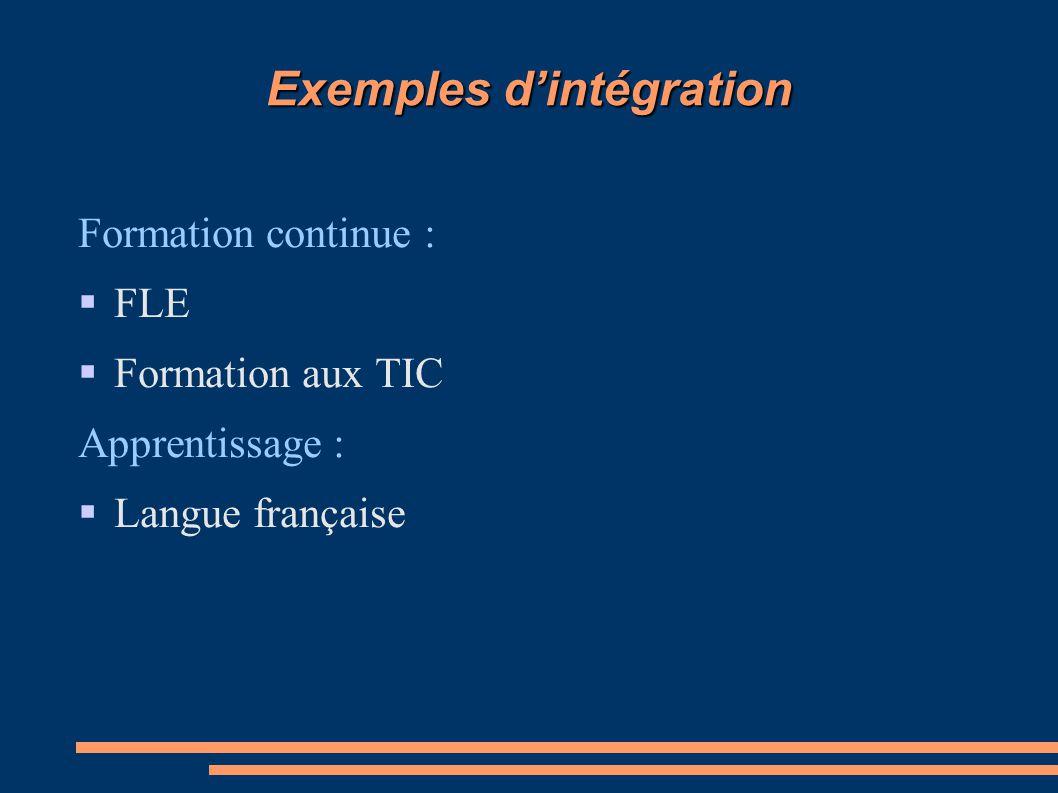 Exemples d'intégration Formation continue :  FLE  Formation aux TIC Apprentissage :  Langue française