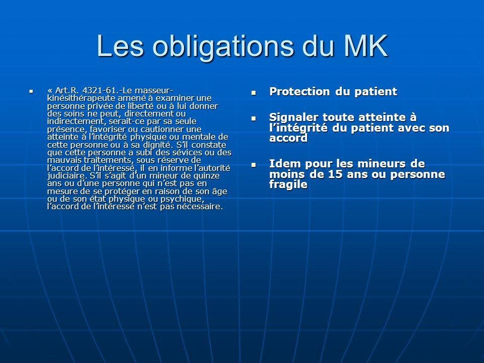 Les obligations du MK « Art.R. 4321-61.-Le masseur- kinésithérapeute amené à examiner une personne privée de liberté ou à lui donner des soins ne peut
