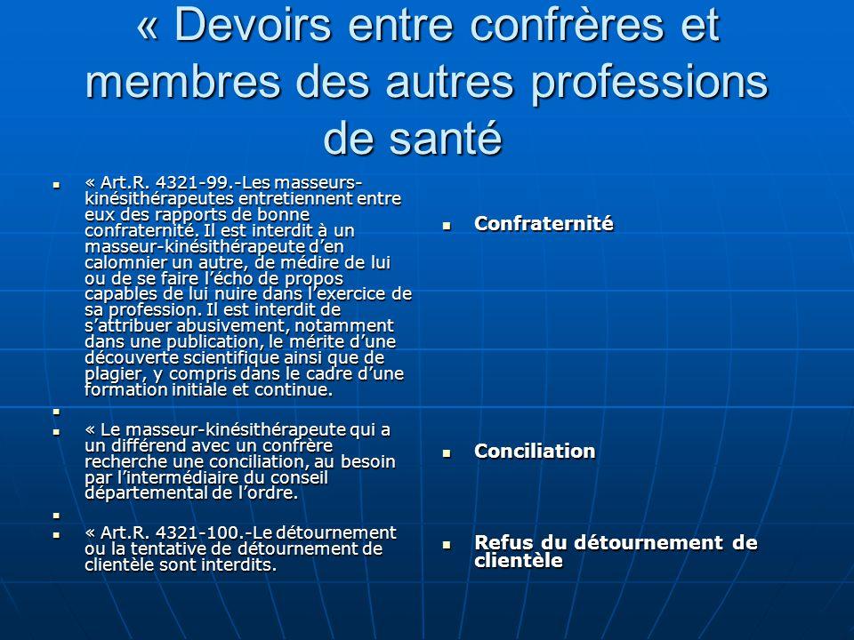 « Devoirs entre confrères et membres des autres professions de santé « Devoirs entre confrères et membres des autres professions de santé « Art.R. 432