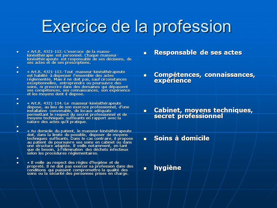 Exercice de la profession Exercice de la profession « Art.R. 4321-112.-L'exercice de la masso- kinésithérapie est personnel. Chaque masseur- kinésithé