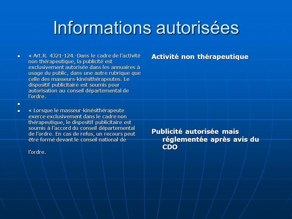Informations autorisées « Art.R. 4321-124.-Dans le cadre de l'activité non thérapeutique, la publicité est exclusivement autorisée dans les annuaires