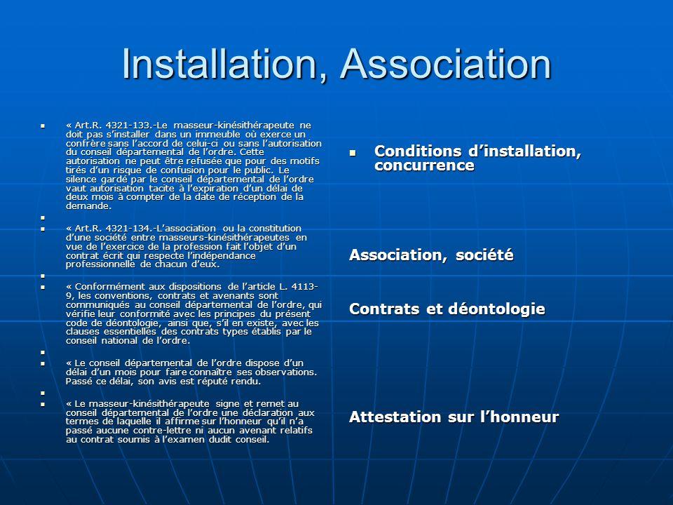 Installation, Association « Art.R. 4321-133.-Le masseur-kinésithérapeute ne doit pas s'installer dans un immeuble où exerce un confrère sans l'accord