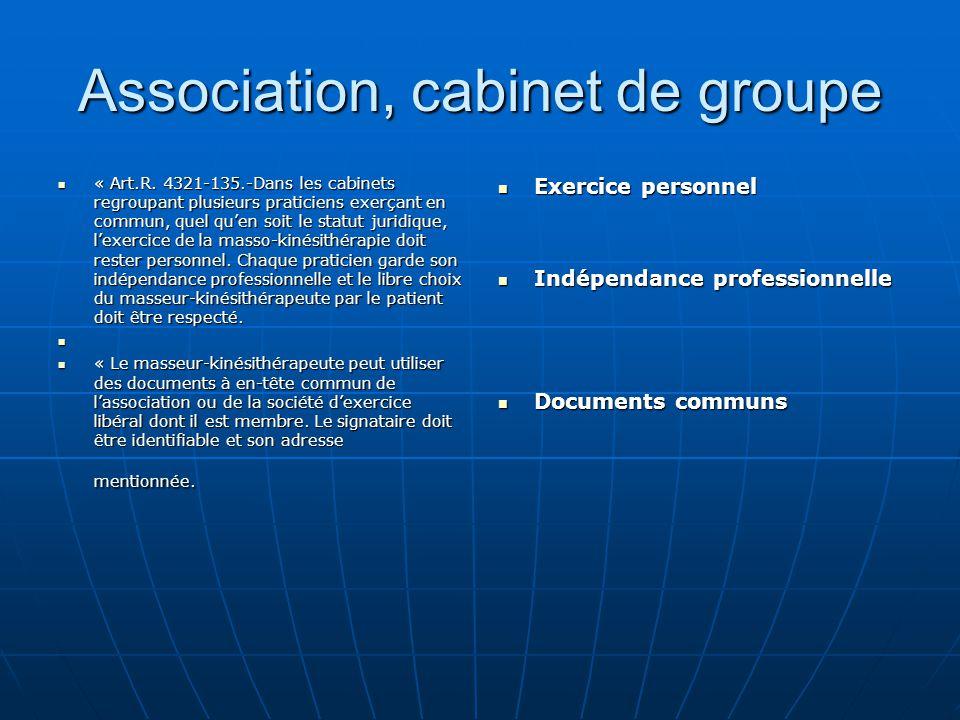 Association, cabinet de groupe « Art.R. 4321-135.-Dans les cabinets regroupant plusieurs praticiens exerçant en commun, quel qu'en soit le statut juri