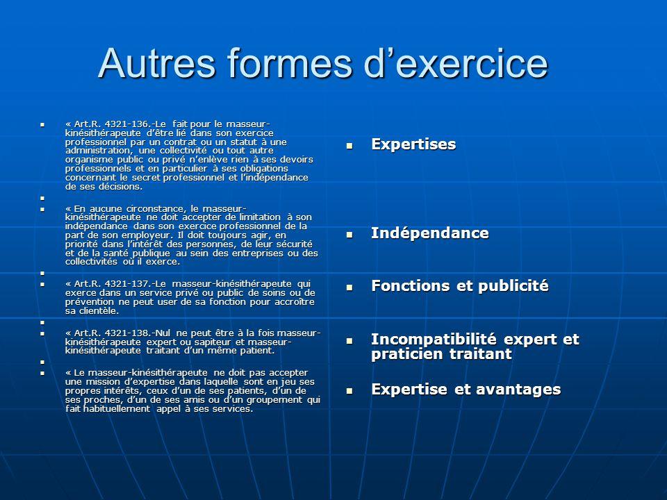 Autres formes d'exercice Autres formes d'exercice « Art.R. 4321-136.-Le fait pour le masseur- kinésithérapeute d'être lié dans son exercice profession