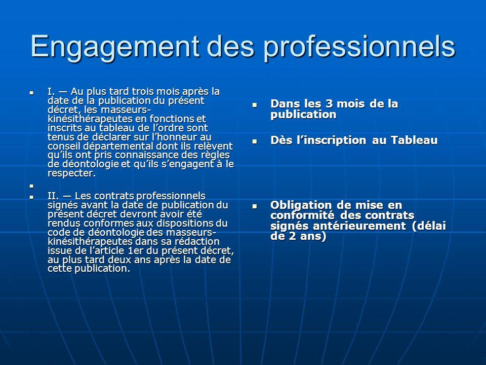 Engagement des professionnels I. ― Au plus tard trois mois après la date de la publication du présent décret, les masseurs- kinésithérapeutes en fonct