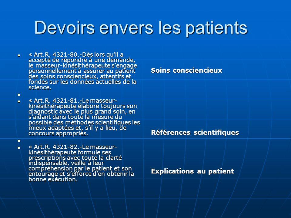 Devoirs envers les patients Devoirs envers les patients « Art.R. 4321-80.-Dès lors qu'il a accepté de répondre à une demande, le masseur-kinésithérape