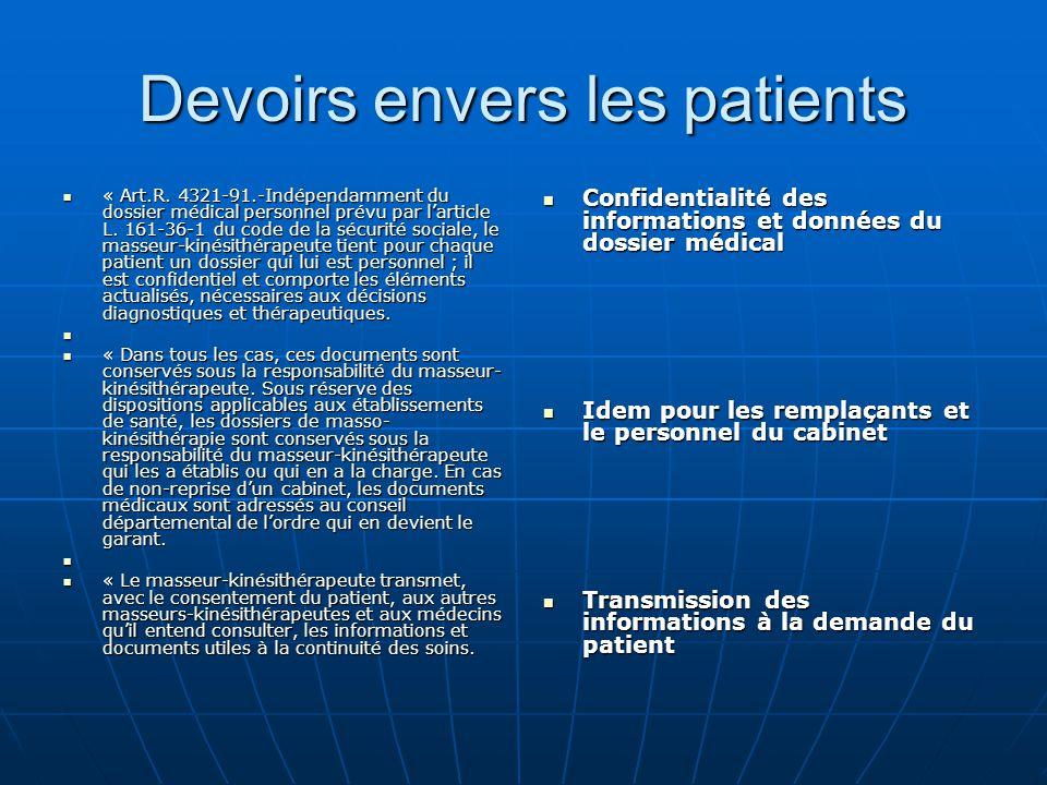 Devoirs envers les patients « Art.R. 4321-91.-Indépendamment du dossier médical personnel prévu par l'article L. 161-36-1 du code de la sécurité socia