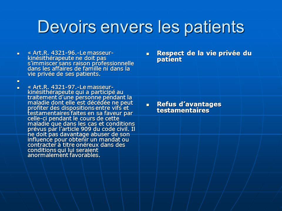 Devoirs envers les patients « Art.R. 4321-96.-Le masseur- kinésithérapeute ne doit pas s'immiscer sans raison professionnelle dans les affaires de fam