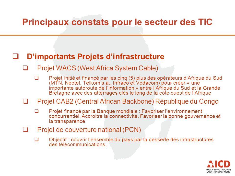  D'importants Projets d'infrastructure  Projet WACS (West Africa System Cable)  Projet initié et financé par les cinq (5) plus des opérateurs d'Afr