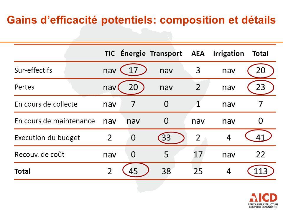 Gains d'efficacité potentiels: composition et détails TICÉnergieTransportAEAIrrigationTotal Sur-effectifs nav17nav3 20 Pertes nav20nav2 23 En cours de