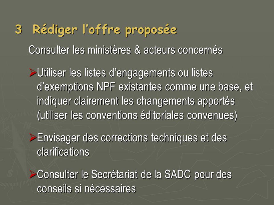 3 Rédiger l'offre proposée Consulter les ministères & acteurs concernés  Utiliser les listes d'engagements ou listes d'exemptions NPF existantes comm