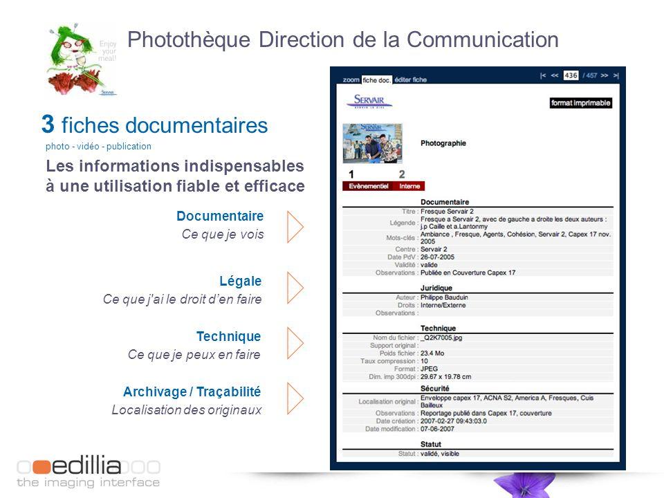 Archivage / Traçabilité Localisation des originaux Les informations indispensables à une utilisation fiable et efficace Photothèque Direction de la Co