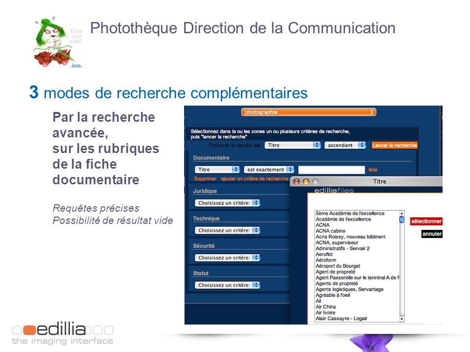 3 modes de recherche complémentaires Par la recherche avancée, sur les rubriques de la fiche documentaire Requêtes précises Possibilité de résultat vide Photothèque Direction de la Communication