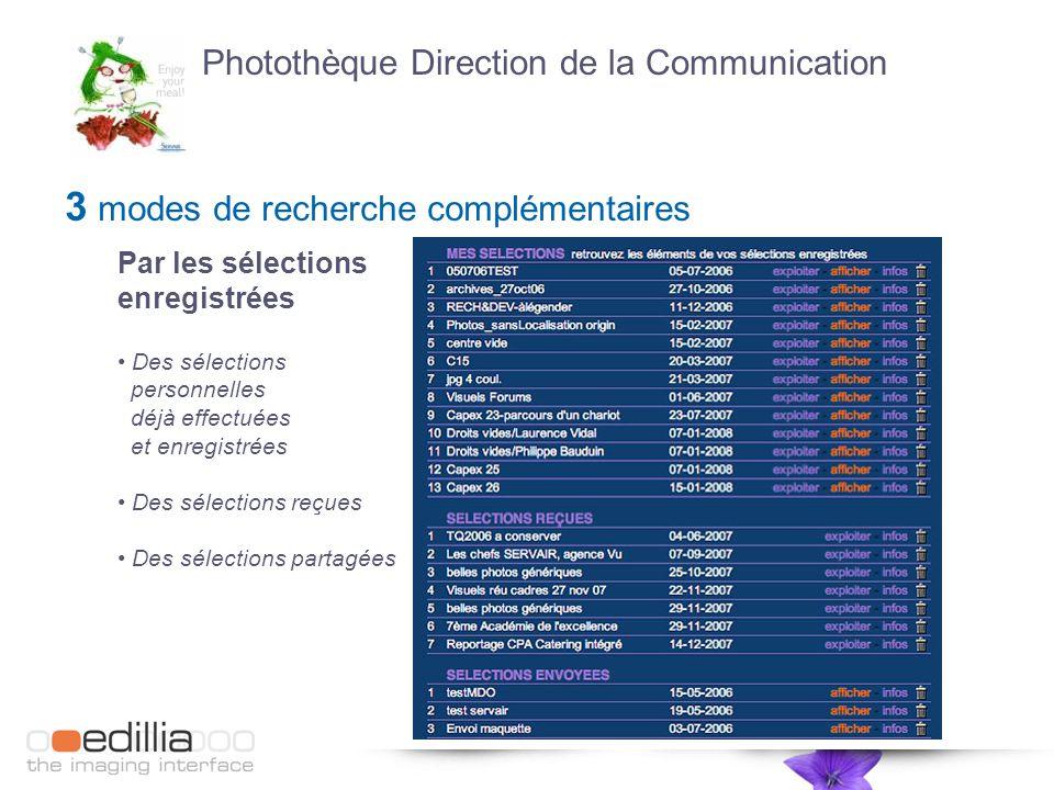 3 modes de recherche complémentaires Par les sélections enregistrées Des sélections personnelles déjà effectuées et enregistrées Des sélections reçues Des sélections partagées Photothèque Direction de la Communication