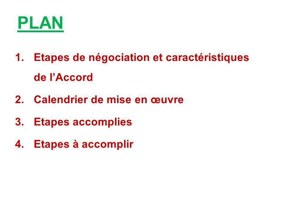 PLAN 1.Etapes de négociation et caractéristiques de l'Accord 2.Calendrier de mise en œuvre 3.Etapes accomplies 4.Etapes à accomplir