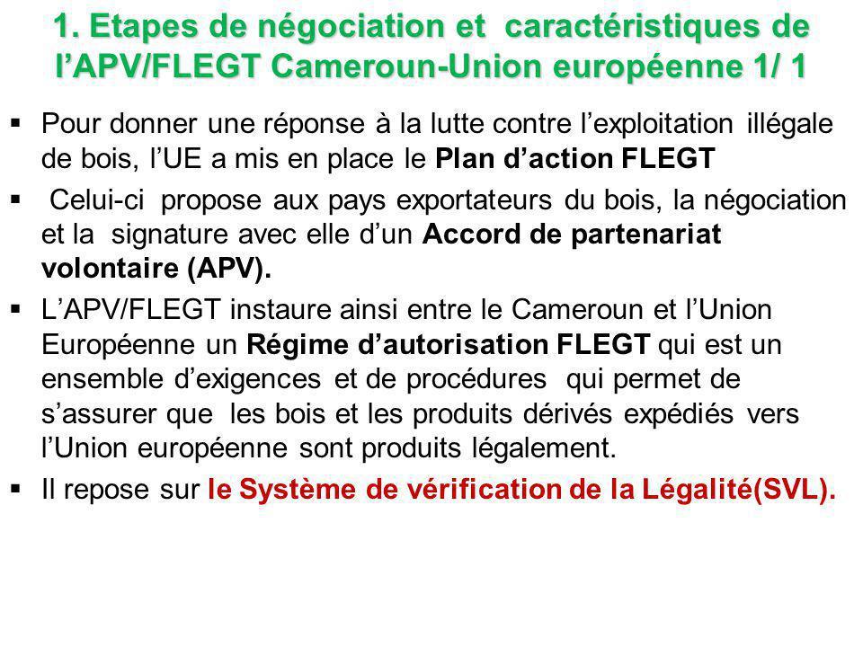 1. Etapes de négociation et caractéristiques de l'APV/FLEGT Cameroun-Union européenne 1/ 1  Pour donner une réponse à la lutte contre l'exploitation