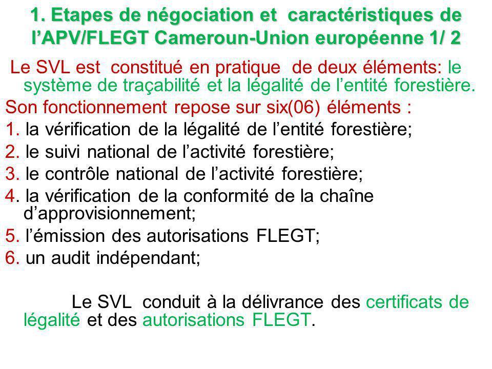 1. Etapes de négociation et caractéristiques de l'APV/FLEGT Cameroun-Union européenne 1/ 2 Le SVL est constitué en pratique de deux éléments: le systè