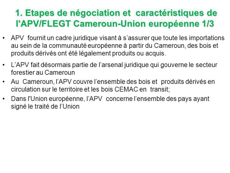 1. Etapes de négociation et caractéristiques de l'APV/FLEGT Cameroun-Union européenne 1/3 APV fournit un cadre juridique visant à s'assurer que toute