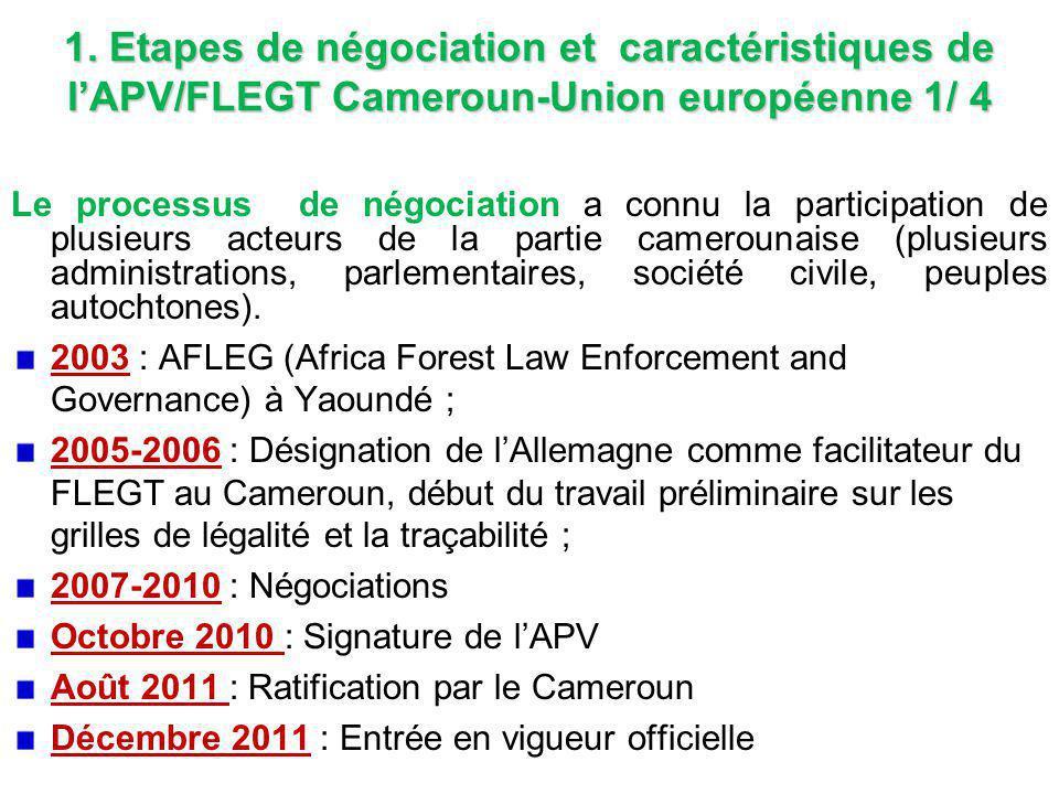 1. Etapes de négociation et caractéristiques de l'APV/FLEGT Cameroun-Union européenne 1/ 4 Le processus de négociation a connu la participation de plu