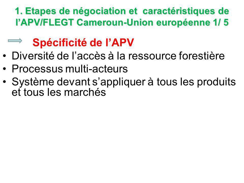 1. Etapes de négociation et caractéristiques de l'APV/FLEGT Cameroun-Union européenne 1/ 5 Spécificité de l'APV Diversité de l'accès à la ressource fo