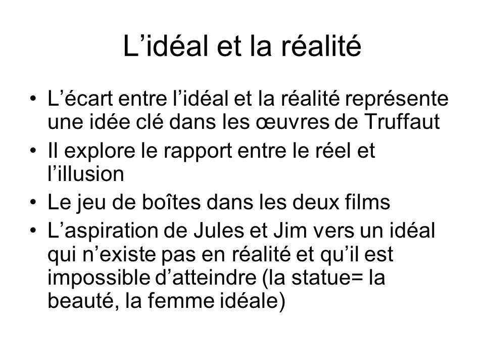 L'idéal et la réalité L'écart entre l'idéal et la réalité représente une idée clé dans les œuvres de Truffaut Il explore le rapport entre le réel et l