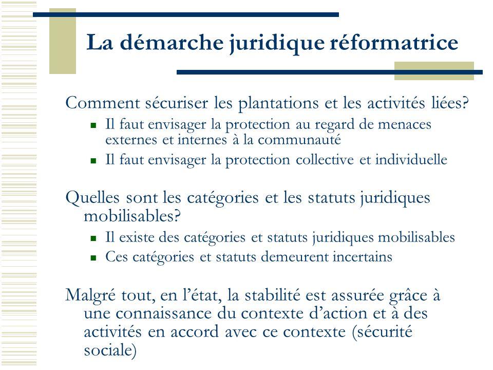 La démarche juridique réformatrice Comment sécuriser les plantations et les activités liées? Il faut envisager la protection au regard de menaces exte