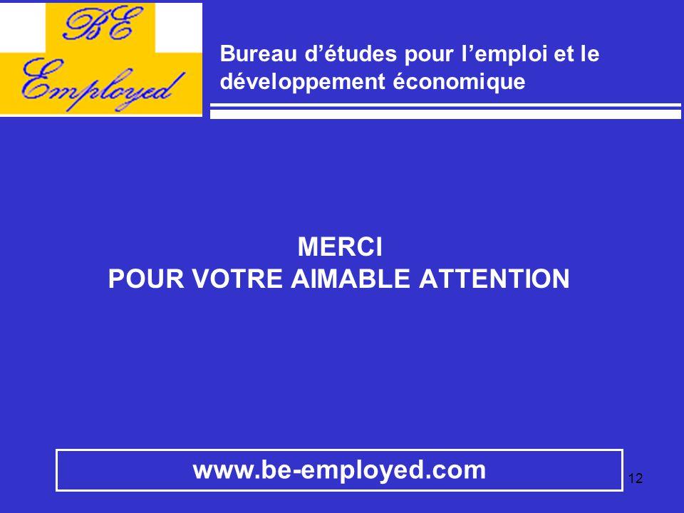12 www.be-employed.com Bureau d'études pour l'emploi et le développement économique MERCI POUR VOTRE AIMABLE ATTENTION